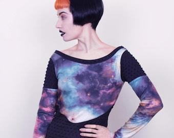 Cyber Futuristic Space Dress, Cosmic Stars Minidress, Sci Fi Galaxy Nebula Clothing, Small to Plus Size
