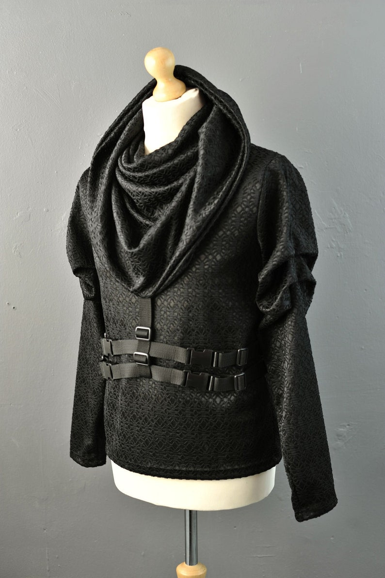 Cyberpunk Hooded Cowl Neck Top Futuristic Rib Cage Hoodie with Buckles Straps S to XL