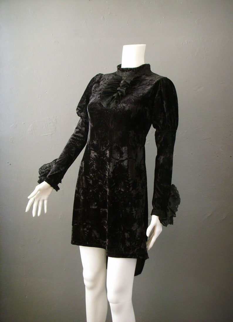 Crushed Velvet Babydoll Dress with Lace Ruffle Jabot Gothic image 0