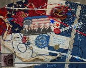 Patriotic. Mixed Media Kit, Fabric Photo Snippet Roll, Slow Stitch, Crazy Quilting, Inspiration Kit, Embellishment Kit. MM-152