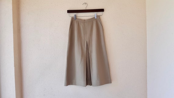 Camel Wool Skirt Vintage 1970s Women's Pencil Skir