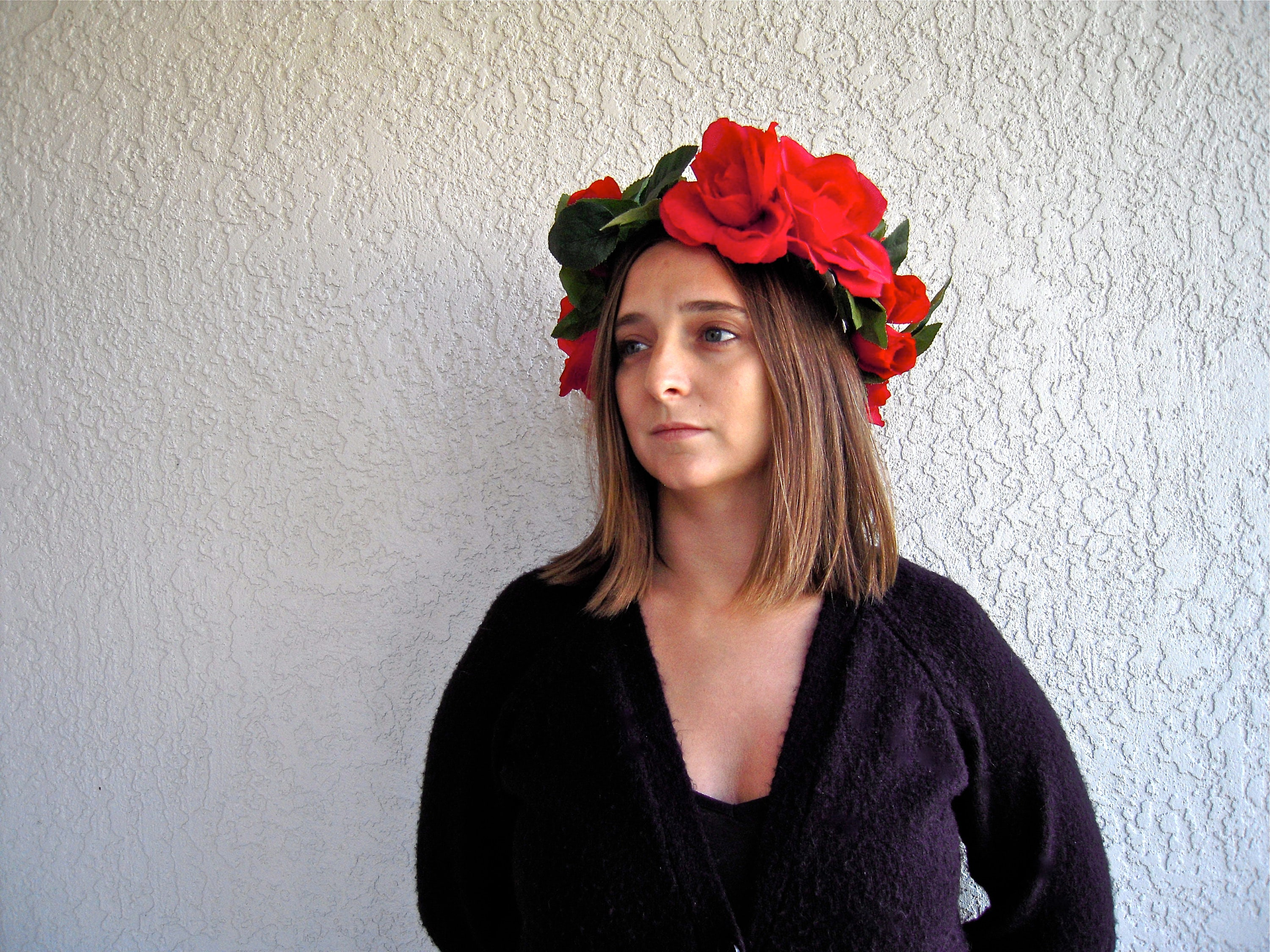 Red Rose Flower Crown Leaf   Floral Hair Wreath Women s  96138718bf7