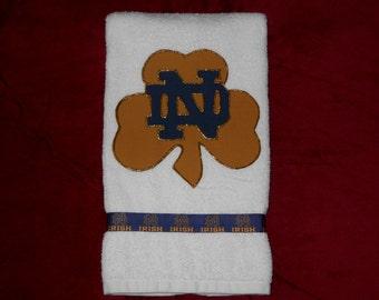 Notre Dame Fighting Irish Hand Towel, Notre Dame Kitchen Towel, Notre Dame Bathroom Towel, Notre Dame Fan Gift, Notre Dame Grad Gift