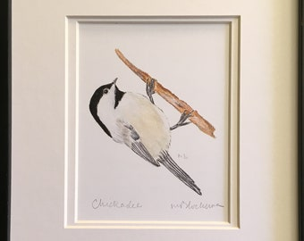 BLACK-CAPPED CHICKADEE Watercolor Pencil Drawing Painting Matted Print