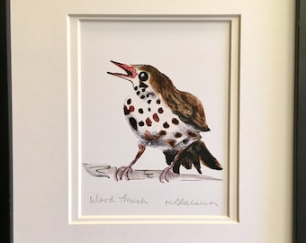 WOOD THRUSH Watercolor Pencil Drawing Painting Double-Matted PRINT