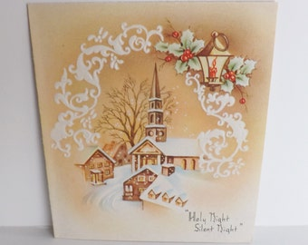 Vintage religious Christian Christmas Greeting card embossed snow covered church and village