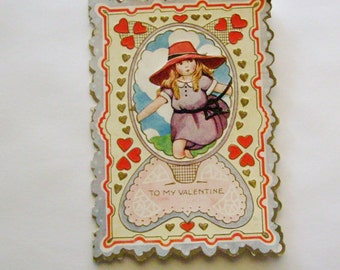 Vintage Valentine's Day Card Whitney Made little girl in red hat ephemera