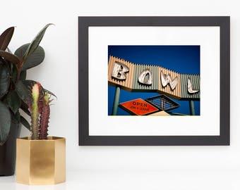 Bowling Alley Neon Sign Art, Googie Art, Neon Sign Print, Mid Century Wall Art, Los Angeles Art, Mid Century Modern Art, Neon Art