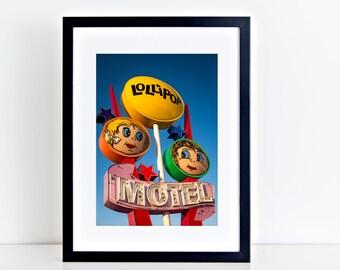 Lollipop Motel Print | Mid Century Art | Wildwood NJ | Neon Sign Art | Wildwood New Jersey | Guest Room Decor | Neon Sign Print | Motel Sign