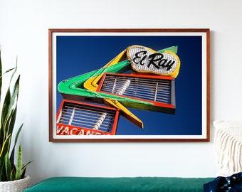 El Ray Motel Sign, Neon Sign Print, Mid Century Modern Art, Retro Wall Art, Reno Nevada, Neon Sign Art, Motel Print, Mid Century Art