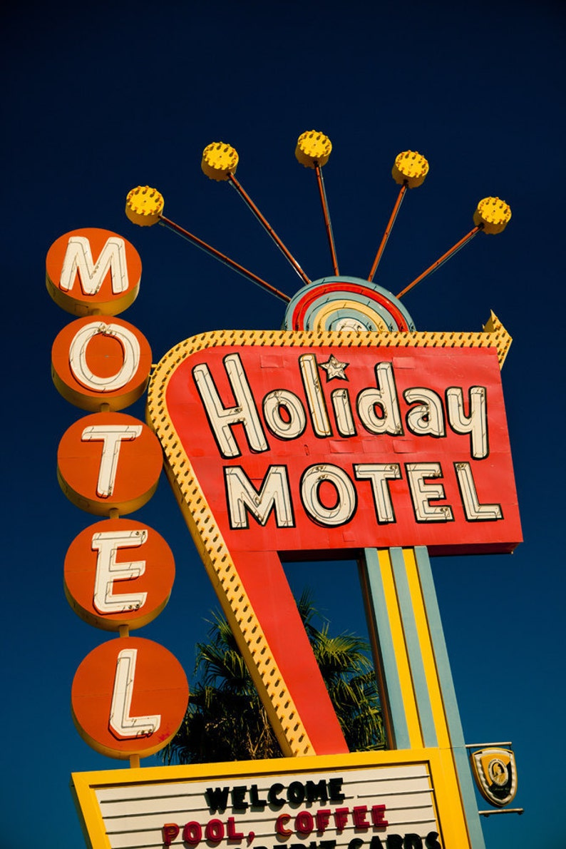 Las Vegas Holiday Motel Sign Neon Sign Print Googie Art Mid image 0