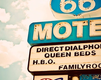 Vintage Route 66 Motel Neon Sign | Seligman Arizona | Graphic Home Decor | Pastel Teal Wall Art | Neon Type | Fine Art Photography