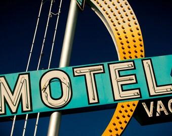Las Vegas Motel Sign Print, Neon Sign Art, Mid Century Wall Art, Retro Home Decor, Guest Room Decor, Neon Shooting Star, Motel Print
