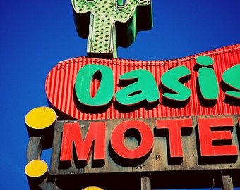 Oasis Motel Neon Sign Print, Los Angeles Wall Art, Motel Sign, Neon Sign Art, Guest Room Decor, Retro Home Decor, Cactus Decor