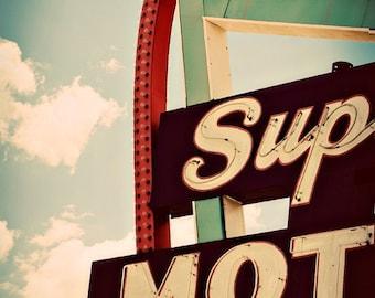 Route 66 Sign | Supai Motel Neon Sign Print | Retro Office Decor | Motel Sign | Neon Sign Art | Mid Century Modern Wall Art