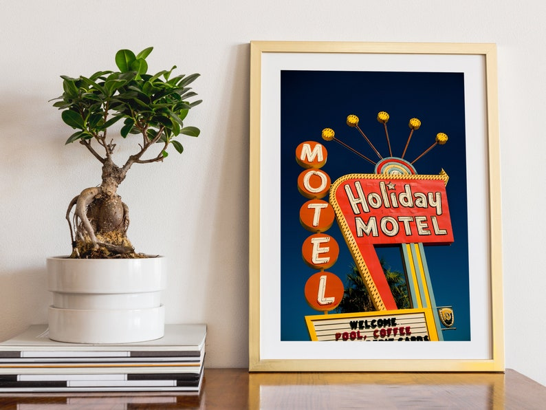 Las Vegas Holiday Motel Sign Neon Sign Print Googie Art Mid 12x18 inches