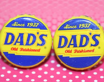 Dad/'s Old Fashioned Root Beer Cap with 24 ct Gold Plated Posts Handcrafted Cuff Links
