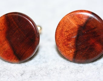 Handcrafted Exquisite Hawaiian Koa 24 ct Gold Plated Cuff Links