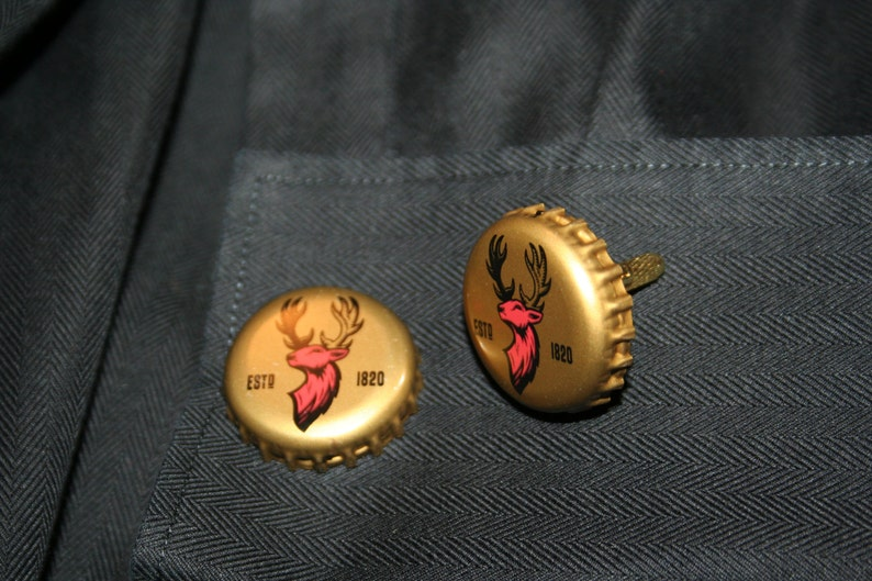 Alexander Keith India Pale Ale Beer Cap with 24 ct Gold Plated Knurled Posts Handcrafted Cuff Links