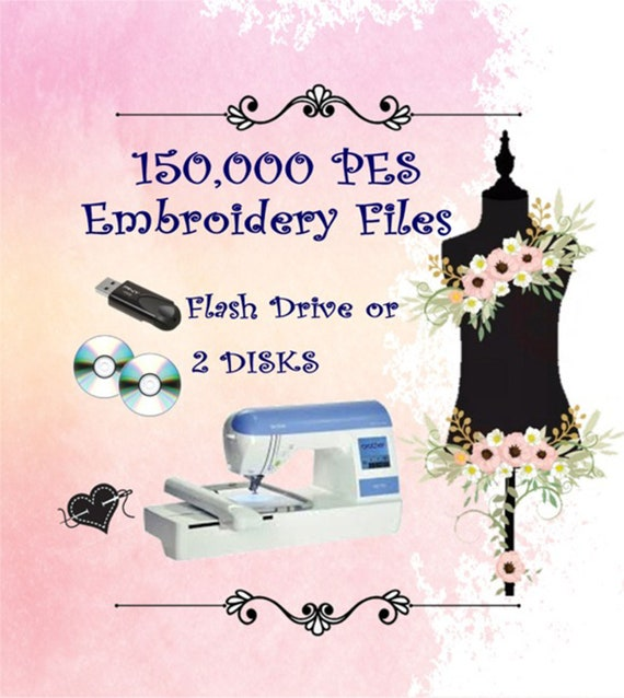 PES Machine Embroidery Designs 150000 PES on a 16GB Flash