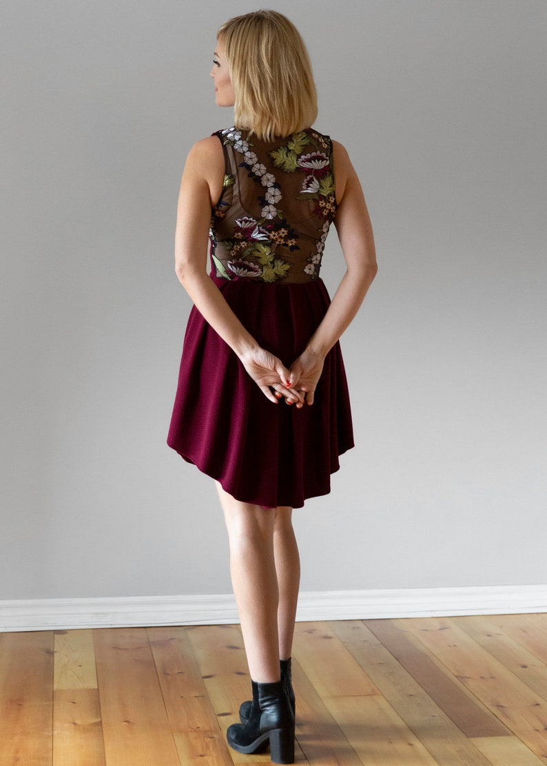 Pleated Skirt Red Dress with Floral Lace Back Party Dress | Embroidered Flowers High Low Hem Cranberry Stretch Fitted Dress