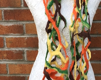 multi colour lacey felted scarf