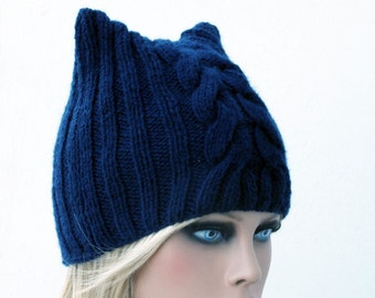 Cat Beanie, Dark Blue Chunky Knit Cat Hat, Winter Accessories, Holiday Fashion, Cat beanie, Cat hat, Cat ear hat, Cat Hat, Knit cat hat.