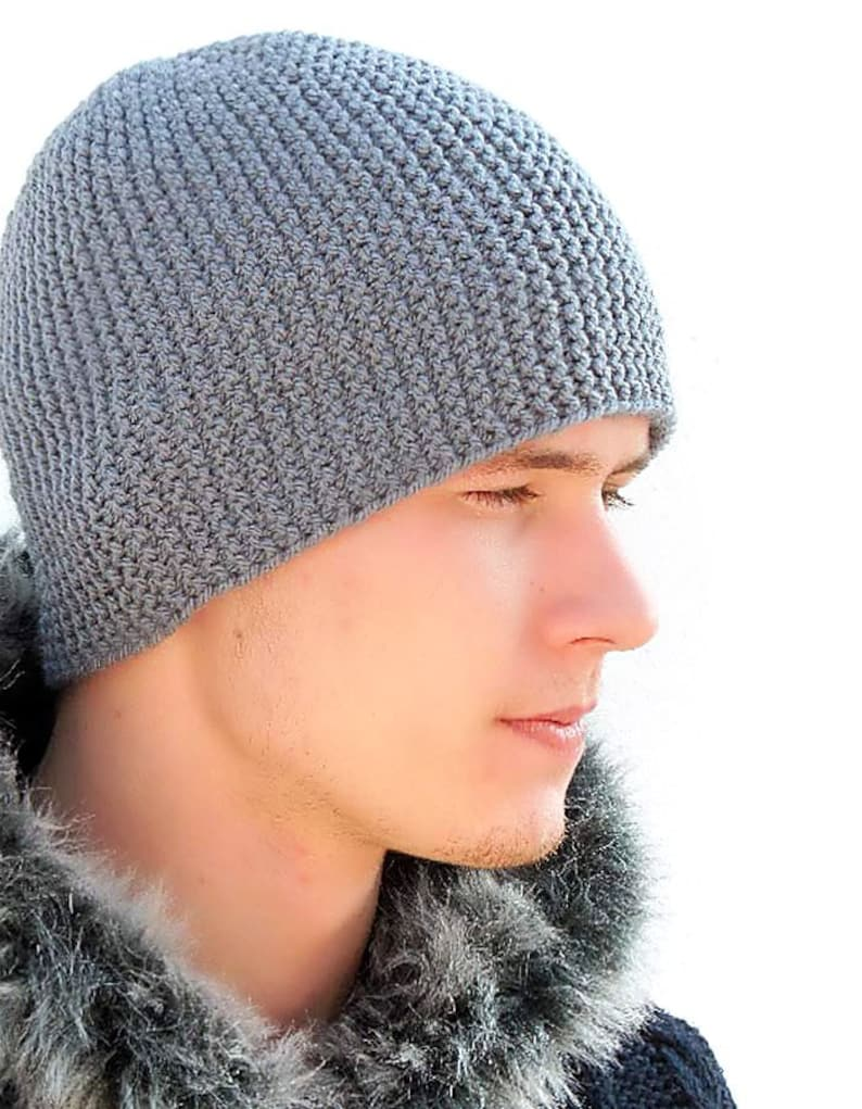 Grey Warm Mens  Knitted Hat Winter hat Men s Knit  fb18330c1