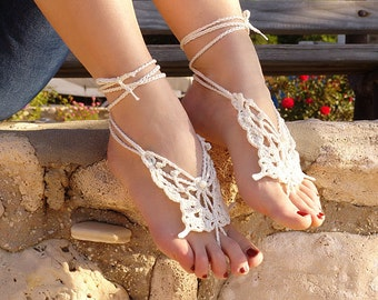 Crochet  Barefoot Sandals, Bridesmaid gift, Destination Wedding, Barefoot Sandles, CREAM Butterfly, barefoot sandals. Fashion Accessory