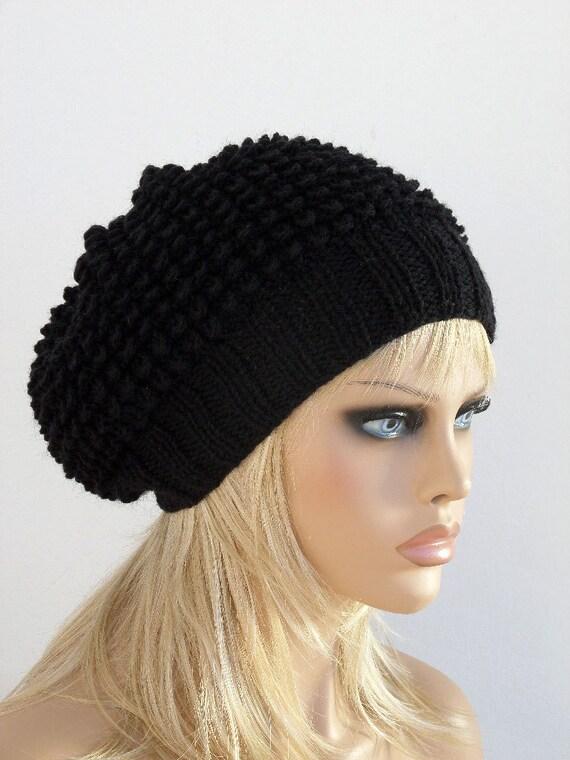 d774485f9ba82a Women Knit Berets Black Womens knit winter hats Slouchy hat | Etsy