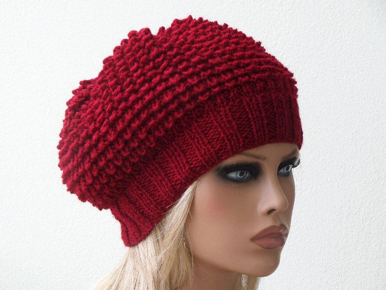 e1bc1274ff3 Women Knit Berets Red Womens knit winter hats Slouchy hat