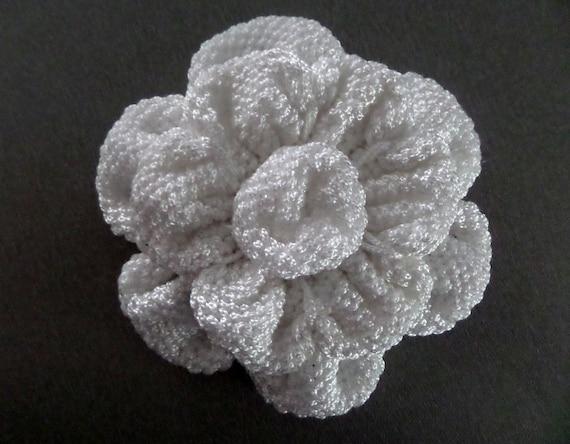 Items similar to large knit flower applique bags decoration