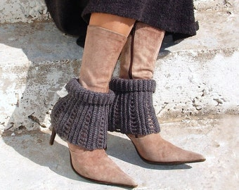 Gray spats, boot socks, boot cuffs, leg warmers, ankle warmers, crochet  laced up gaiters, two ways to wear
