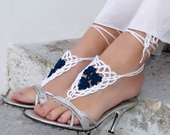 PICK YOUR COLOR. Barefoot sandals, Crochet White Blue, wedding barefoot sandles, sexy, yoga, anklet, barefoot sandles, beach pool