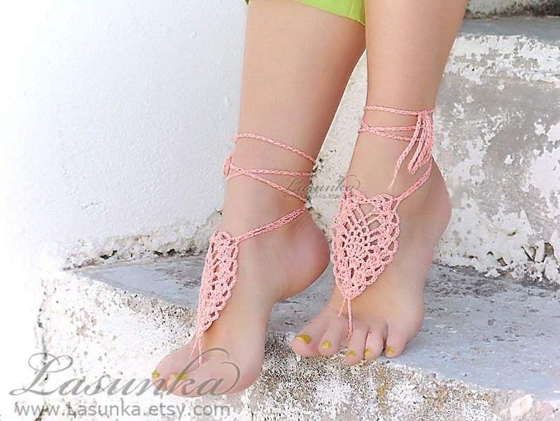 411bcca0b948 Coral barefoot sandals Barefoot sandles peach crochet nude