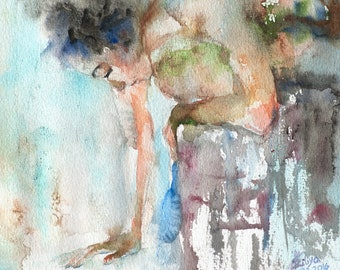 """Gentle Touch. """"Lady Aquarelle"""" series. MATTED Giclee wall art print. Sensual Watercolor. Female figure in art. Watercolor painting."""