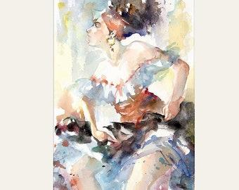 Flamenco Dancer 2, Lady Aquarelle series. MATTED Giclee wall art print. Sensual Watercolor. Female figure in art. Watercolor painting.