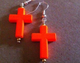 Dangle Orange Cross Earrings   #81