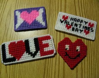 Set of 4 Plastic Canvas Valentine Magnets  #29