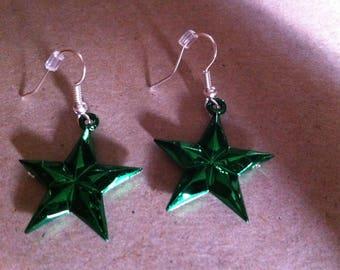Dangle Green Star Earrings  #109