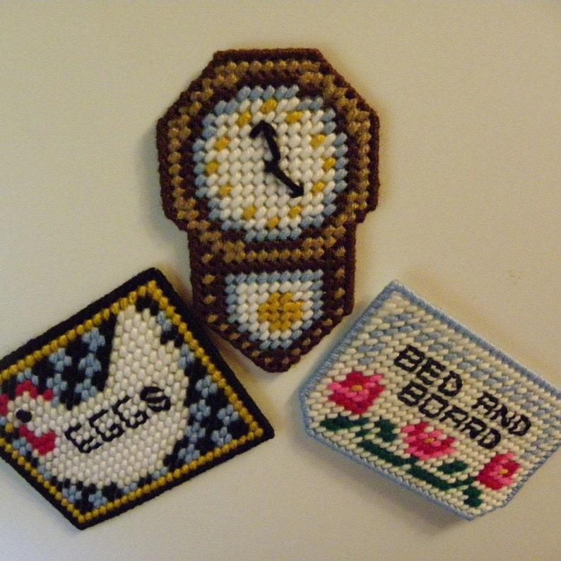 Set of 3 Plastic Canvas Magnets   #78