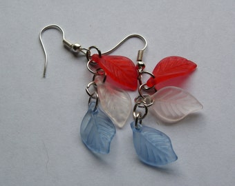Dangle Red, White & Blue Leaf Earrings   #420   Free Shipping within US
