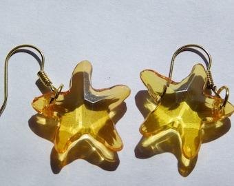Dangle Orange Clear Starfish Earrings   #236   Free Shipping within US
