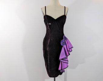 1980s Black Velvet & Purple Sequin Taffeta Wiggle Dress Glam Gantos