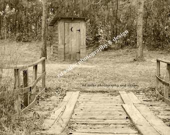 Bathroom Wall Art, Outhouse Photograph,  Bathroom Decor, Vintage Bathroom Decor