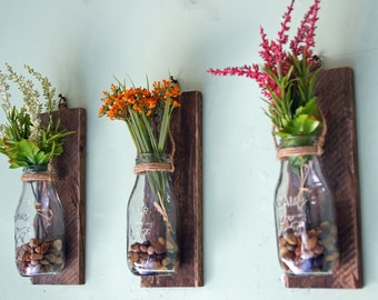 Hanging Milk Bottle Wall Vases, Wall Mounted Flower Vases, Hanging Flower Vases, Reclaimed Wood, Rustic Floral Decor, Milk Bottles, Set of 3