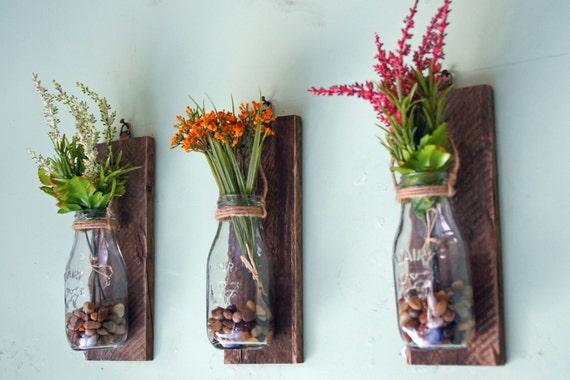 hanging milk bottle wall vases wall mounted flower vases etsy