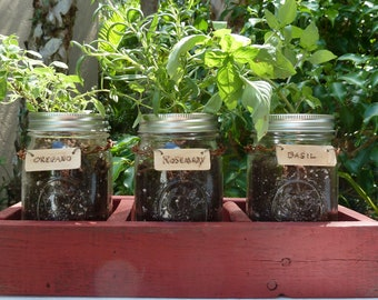 Mason Jar Herb Garden - Reclaimed Wood Mason Jar Herb Garden, Reclaimed Wood Herb Planter, Herb Garden Tray, Set of 3 Mason Jars with Tray