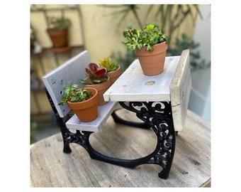 Miniature vintage school desk plant holder, mini school desk, doll school desk, school desk decor, school desk garden decor