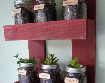 Wall Hanging Herb Plant Holder, Mason Jar Herb Garden, Wall Herb Planter, Indoor Outdoor Herb Planter, Mason Jar Herb Plant Rack